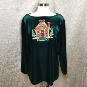 Bob Mackie Christmas Gingerbread Velour Top Medium